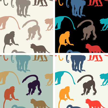 copycat: Vector seamless texture with monkeys Illustration