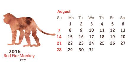 tierra: August 2016 with Monkey Watercolor Shape Illustration
