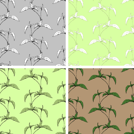 tillage: Four Seamless backgrounds with growing home plants