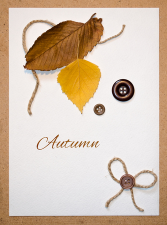 summons: Greeting card with autumn leaves and buttons Stock Photo