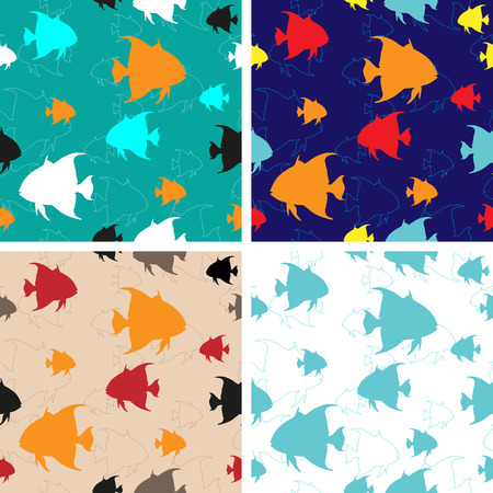 Set of four Sea Fishes vector seamless backgrounds