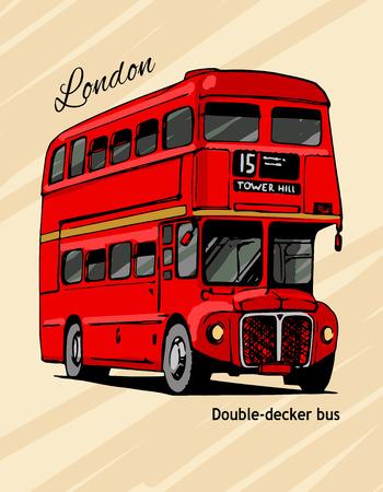 doubledecker: London double-decker hand-drawn red bus