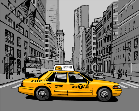Yellow Taxi in the city street
