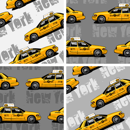 hackney carriage: New York Yellow Taxi Cab seamless background Illustration