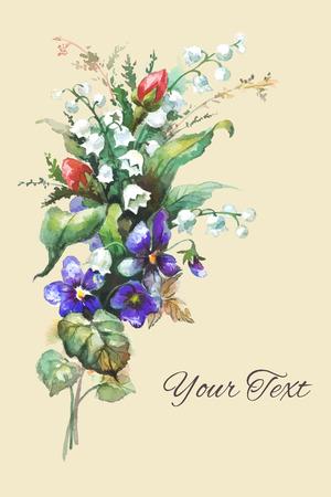 Aquarel hand getekende flowerscard template
