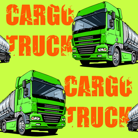Green Intercity Cargo Truck seamless background