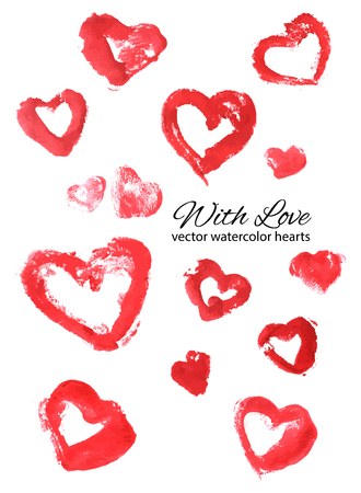 lust: Watercolor illustrated hearts collection