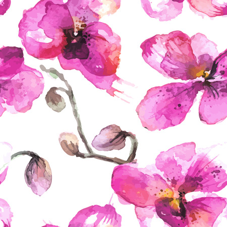 incarnadine: Watercolor  illustrated  orchid flowers seamless background