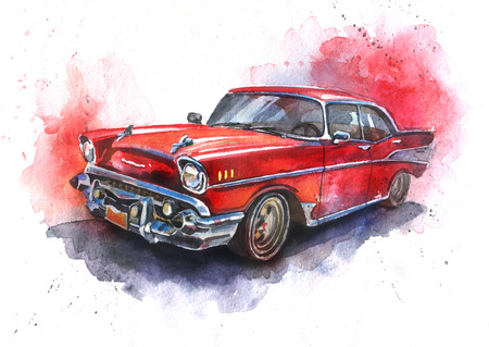 wet men: Watercolor hand-drawn old-fashioned red car