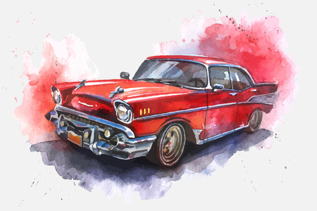 outmoded: Watercolor  illustrated  old-fashioned red car