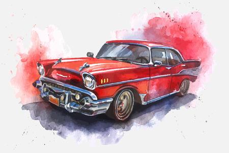Waterverf het geïllustreerde ouderwetse rode auto