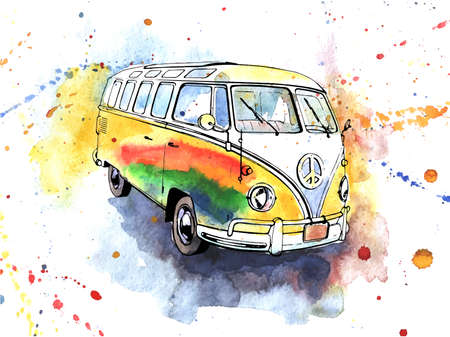 stuffy: Watercolor illustrated  old-fashioned hippy bus Illustration