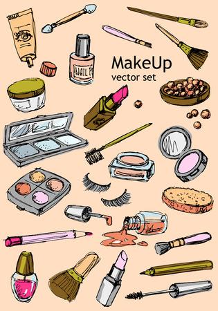 cremas faciales: Maquillaje conjunto de vectores dibujado a mano Vectores