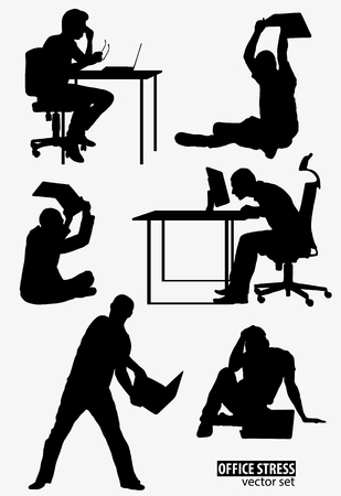 delineate: Shapes of Men under stress with laptop