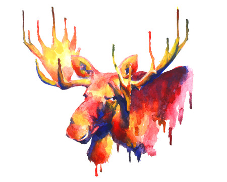 Psychedelic bright watercolor moose drawing Stock Illustratie