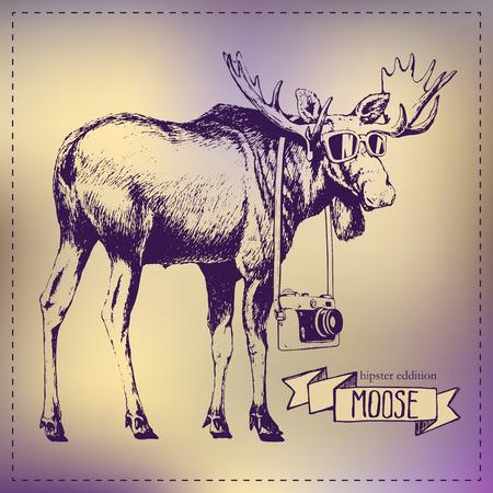 hoofed mammal: Pen graphics vector moose drawing hipster edition