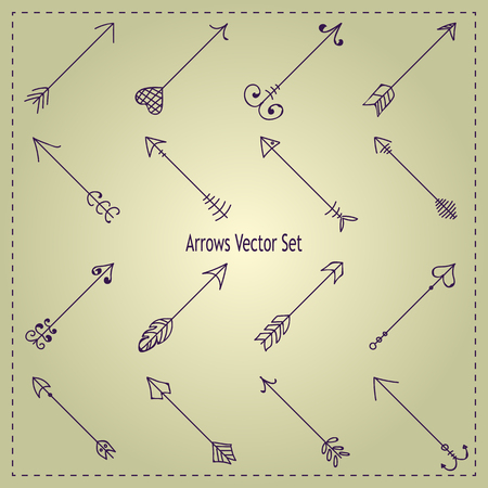 to pierce: Hipster hand-drawn arrows vector set Illustration
