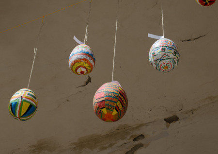 sunday paper: Easter decoration of hand-made colorful eggs