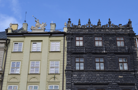 opposed: Old stone black and white buildings in Lviv