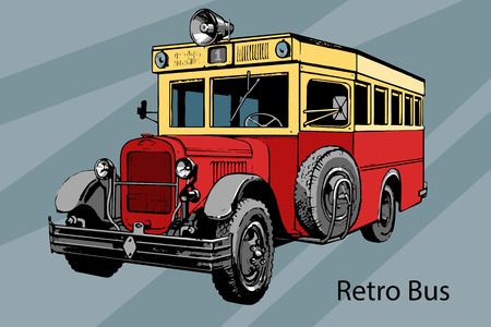motor coach: Hand-drawn Retro city bus vector drawing