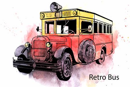 omnibus: Hand-drawn watercolor Retro city bus vector drawing Illustration