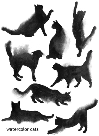 grapple: Hand drawn watercolor black cats shapes collection
