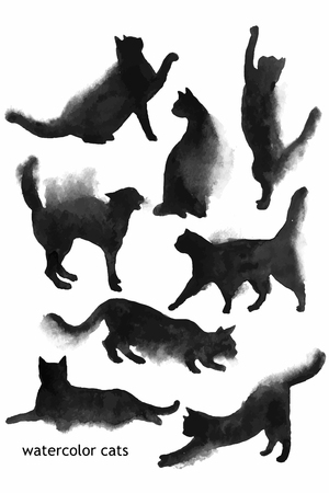 Hand drawn watercolor black cats shapes collection