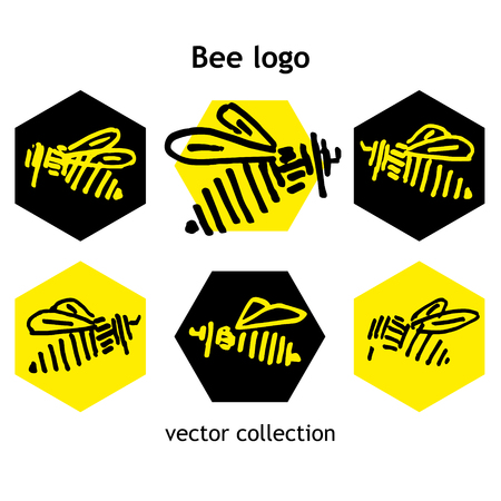 alveolar: Black and yellow Bee vector collection