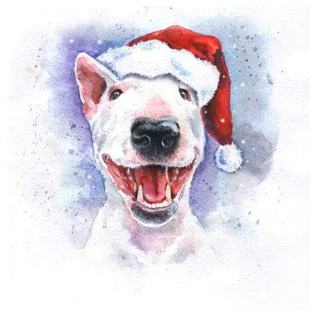 Watercolor hand-drawn bright-colored bullterrier Christmas holiday card