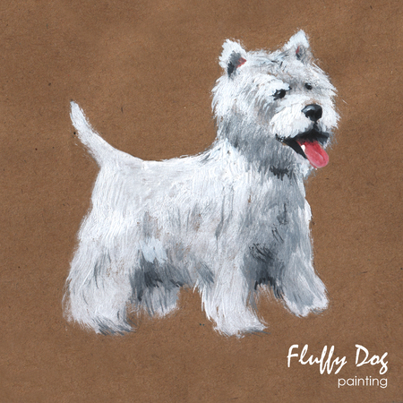 Fluffy dog ??painting, greeting card
