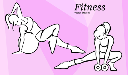 Ladies doing fitness vector icons