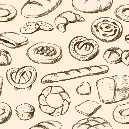 Breads and pastries hand drawn tilable texture