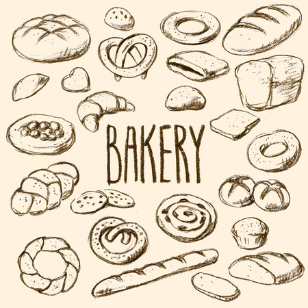 Breads and pastries hand drawn collection