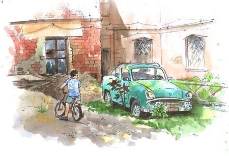 Abandoned courtyard with old car and a boy on a bicycle watercolor sketach