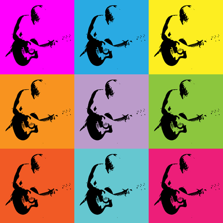 Pop art bright digital background with guitar player