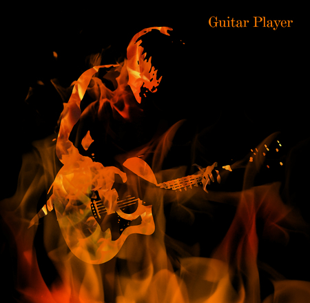 Digital image with rock guitar player on black background Stock Photo