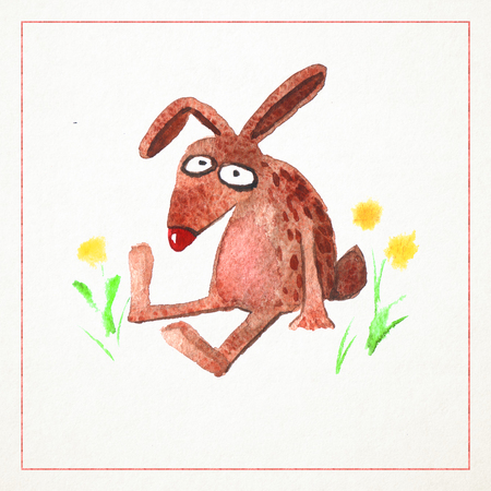 Hand-drawn watercolor card with funny rabbit
