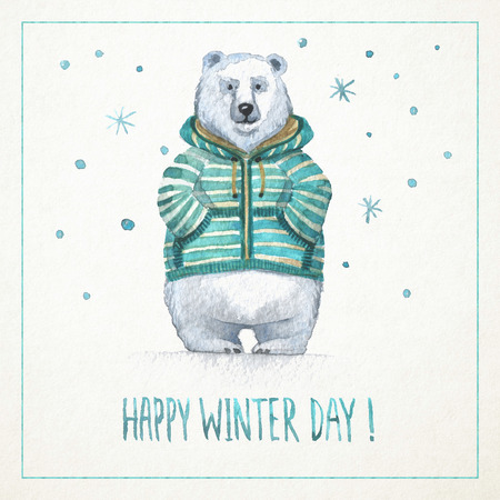 Hand-drawn watercolor card with funny polar bear