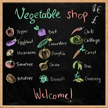 Hand-drawn vegetable shop signboard with chalk drawings Stock Photo