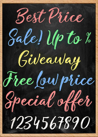 hand-drawn signboard with color chalk inscriptions set