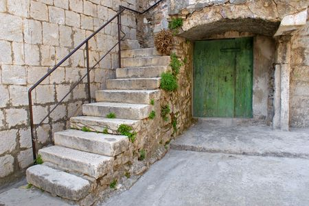 Stone staircase and wooden basement door. photo