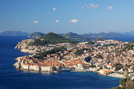 viewed: Rooftops and Dubrovnik walls, viewed from a nearby hill.