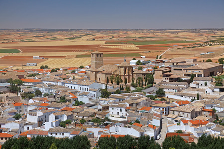 belmonte: View on the cultivated land and town of Belmonte in Spain, from the castle on the hill.