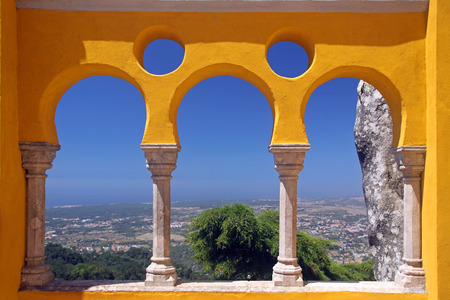 the pena national palace: View from the Pena National palace in Sintra, Portugal.