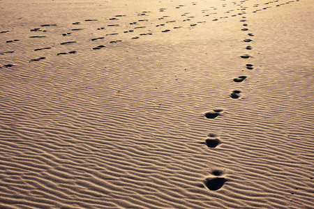 astray: Path of footprints on a golden sandy beach, going astray. Stock Photo