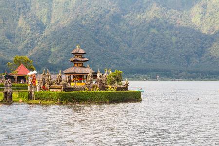 ulun: Little Balinese Ulun Danau temple on lake Bratan, Bali, Indonesia