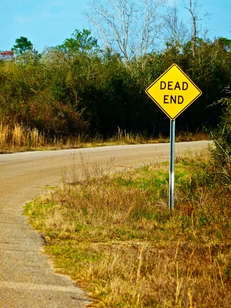 the end: A road that leads to a dead end. Stock Photo