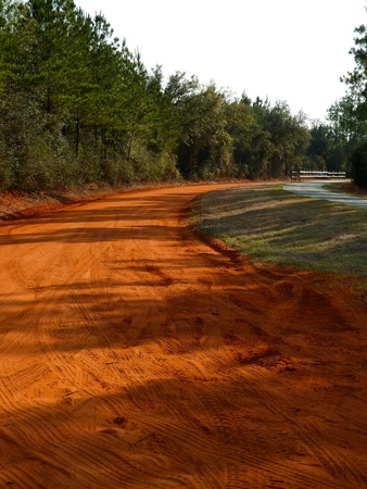 dirt: A winding road of red clay.