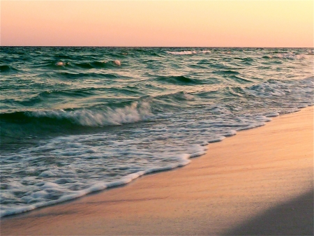 the gulf: The coastline at sunset. Stock Photo
