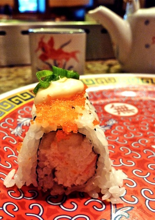 A plated sushi roll.